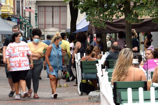 The Schenectady Greenmarket last August was bustling with shoppers on a Sunday morning. This year, people can also get vaccinated.