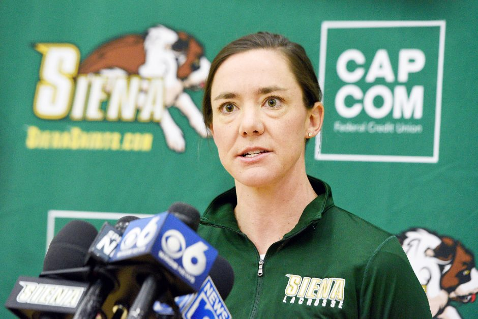 Siena women's lacrosse head coach Abby Rehfuss was named MAAC Coach of the Year on Thursday.