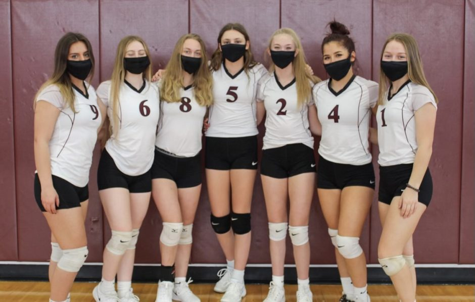 Gloversville has put together an unbeaten girls' volleyball season with, from left, Emily Bradt, Alana Biasini, Aireana Muhlberger, Zoie Tesi, Hailee Thompson, Madelyn Avery and Macey Salvione.