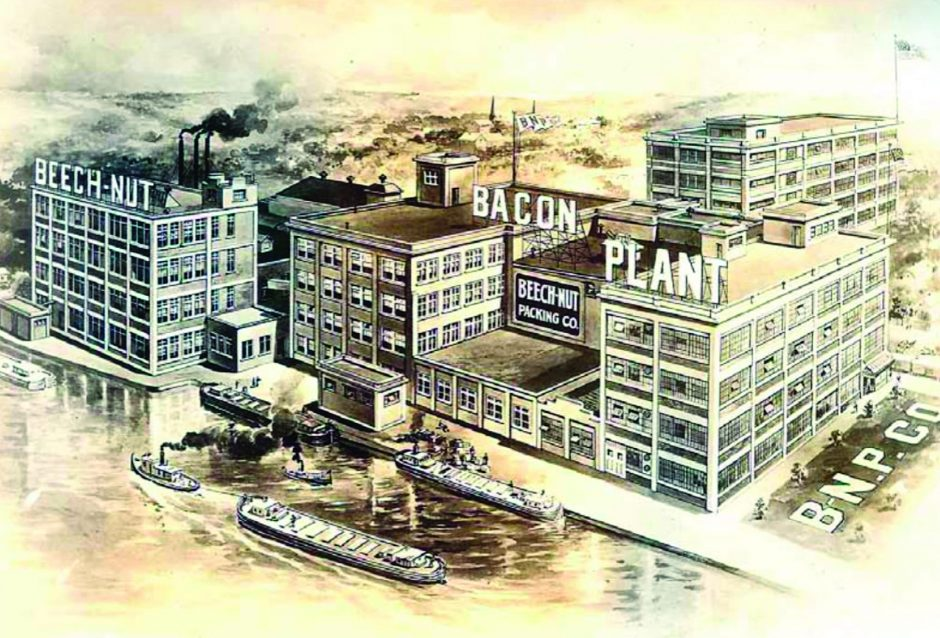 An illustration of the Beech-Nut Company plant circa 1921.