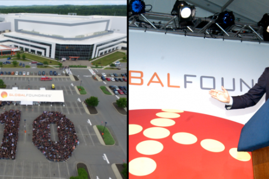 Former Gov. George M. Pataki speaks at groundbreaking for GlobalFoundries in Malta in a July 2009 Gazette file photo and July 2019 in an aerial image provided by the computer chip maker.