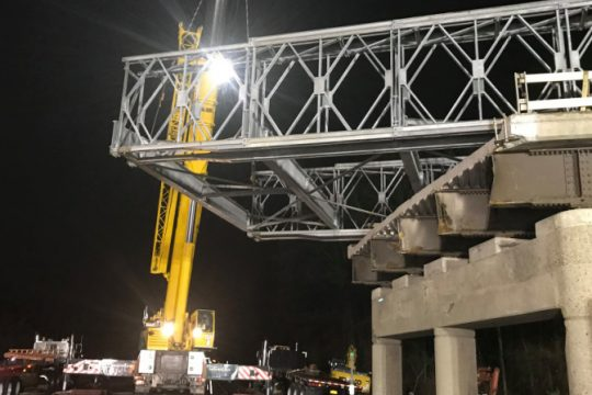 Crews work on the temporary structure Saturday to Sunday - Credit: New York State Department of Transportation