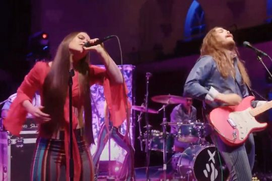 In a screenshot taken from YouTube, Jocelyn and Chris perform during Sunday's Eddies Awards show in Saratoga Springs.