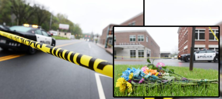 The scene Tuesday morning on Broadway. A bouquet of flowers at the scene. (inset)