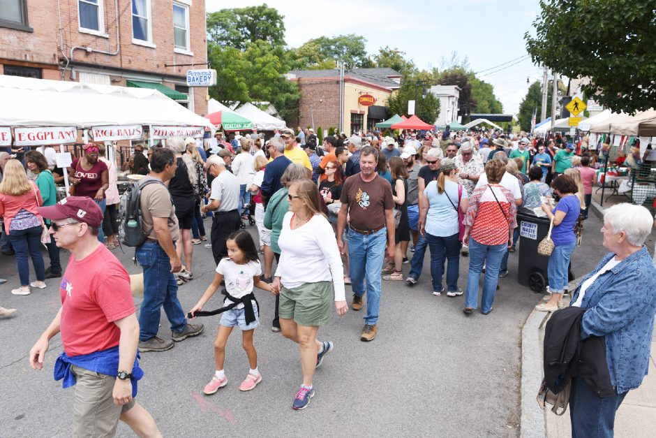 People fill the streets for food and music during the 14th annual Little Italy Streetfest on Jay Street in Schenectady on Sept. 7, 2019. The festival was one of the organizations that received County Initiative Arts Grant Program funding.