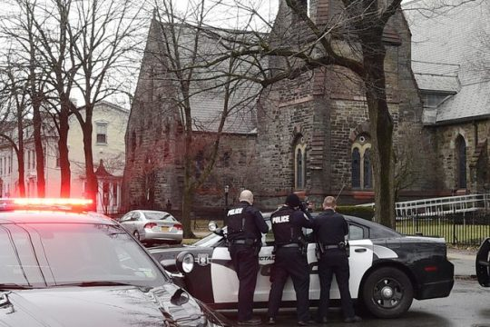 Police on the scene of the First Reformed Church Dec. 28, 2018