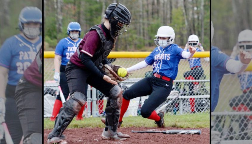 Broadalbin-Perth's Kelsey Hinderliter heads for home plate while Fonda-Fultonville catcher Kami Walton handles the ball during Tuesday's non-league softball gamein Broadalbin.