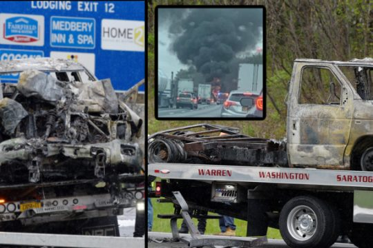 The fire damaged trucks at the scene. (left, right) Flames and smoke plume after the accident. (Inset)