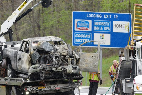 Crews work to remove the vehicles involved in Wednesday morning's Northway crash