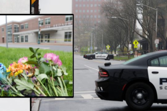 Police at the scene Tuesday. Also flowers left nearby Tuesday.