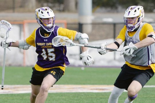 UAlbany's Graydon Hogg (45) had three goals and an assist in UAlbany's 14-12 win over UMBC on Thursday.