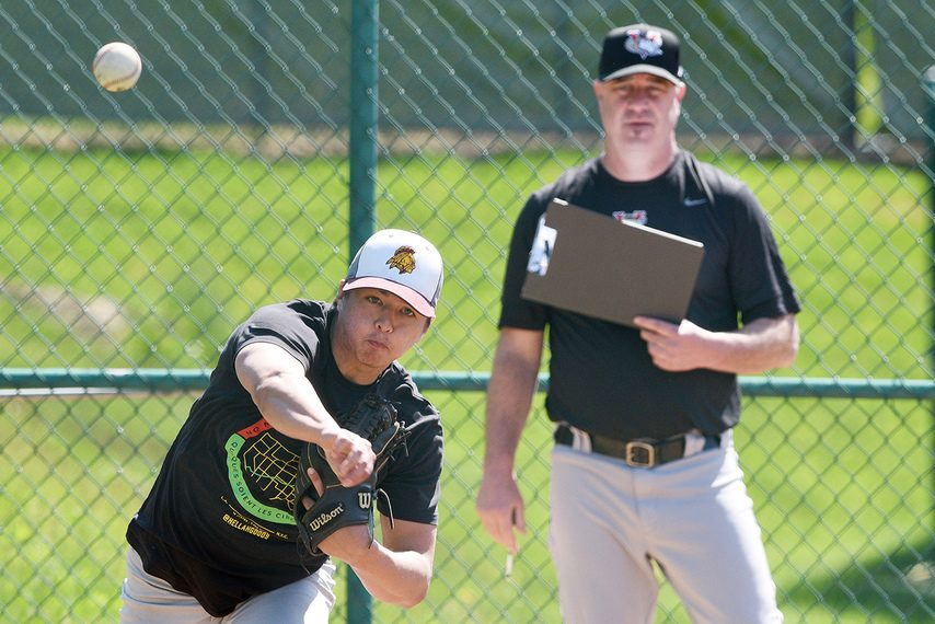 ERICA MILLER/THE DAILY GAZETTE Fonda-Fultonville grad Brady Myles delivers a pitch during the Tri-City ValleyCats' open tryout on Friday.