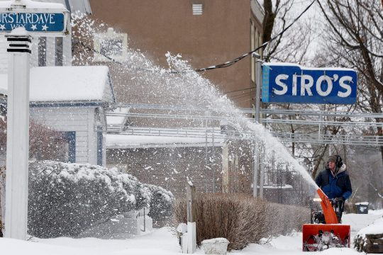 Siro's restaurant can be seen after a snowstorm in Saratoga Springs on Feb. 6, 2020.
