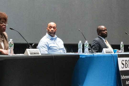 City Council member Marion Porterfield, left, speaks at a Schenectady Black Political Action Committee forum with candidates Dammoni Farley, Haileab Samual, and Carl Williams in the GE Theatre at Proctors on Friday, May 7, 2021.