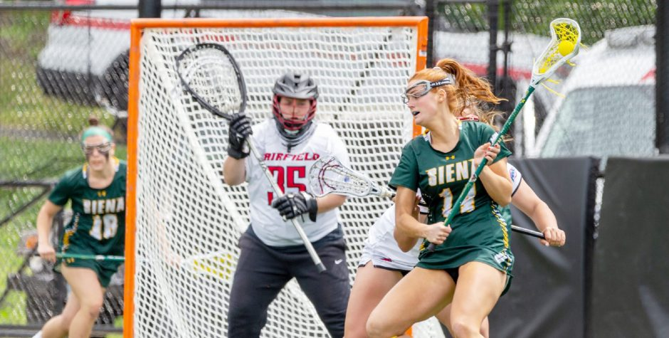 Siena's Kaitlyn Dowsett looks to shoot during the MAAC women's lacrosse championship game against Fairfield on Sunday in Fairfield, Conn. (Photo courtesy Siena Athletics)