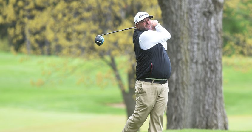 Scott Berliner of Lake Luzerne tees off on the 10thhole Monday at Mohawk Golf Club inNiskayuna during the U.S. Open local qualifier. Berliner shot a 68 for medalist honors.