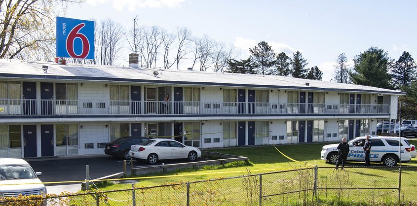 The scene at the Curry Road Motel 6 Tuesday morning