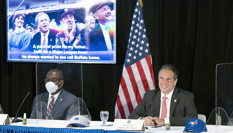 Gov. Andrew Cuomo speaks at a COVID news conference Wednesday in Buffalo.