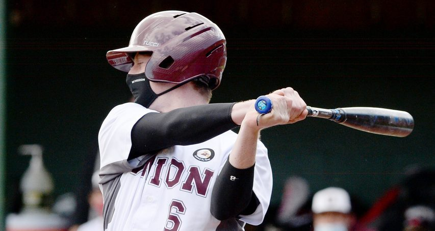 Union College senior catcher Matt Toy takes a cut during Wednesday's Liberty League semifinal game against Ithaca College at Shuttleworth Park in Amsterdam.
