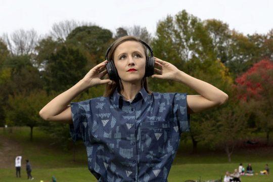 "Composer Ellen Reid listens to her ""Soundwalk"" music.Photo: Erin Baiano"