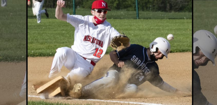 Niskayuna's Connor Singsheim and Saratoga Springs' Sean Hudson collide at third base on Wednesday.