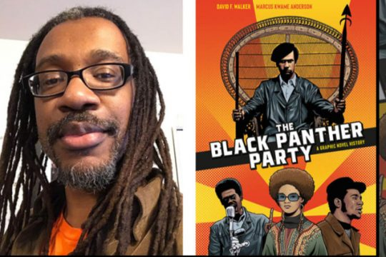Marcus Kwame Anderson and his work on the book's cover.
