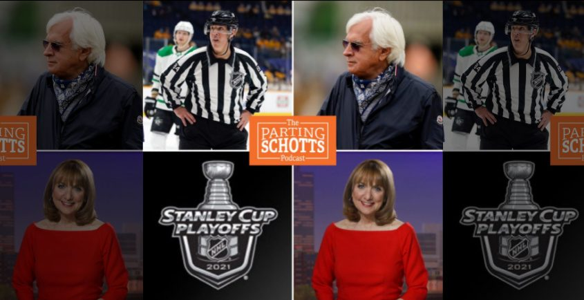 Clockwise: NHL linesman and Guilderland resident Tony Sericolo, horse racing trainer Bob Baffert, WNYT NewsChannel 13 anchor Benita Zahn and the Stanley Cup Playoffs are the topics on the latest 'The Parting Schotts Podcast.'