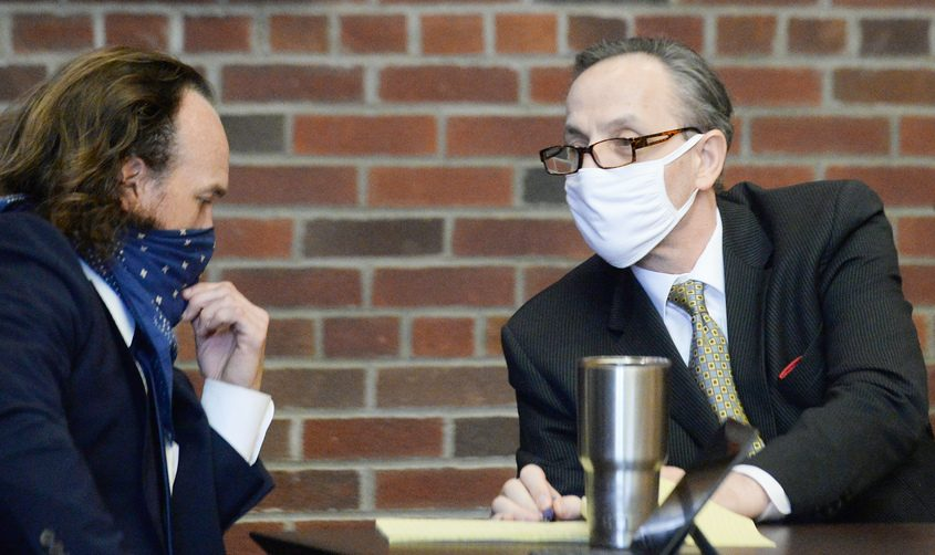 Georgios Kakavelos (right) with his attorney Kevin K. O'Brienin court Wednesday.