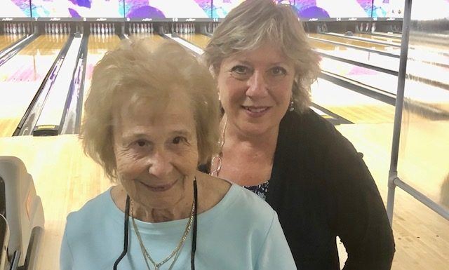Helen DiCarlo, left, who turns 98 Friday,bowls Thursday mornings with her daughter-in-law, Patti, at Sportsman's Bowl.