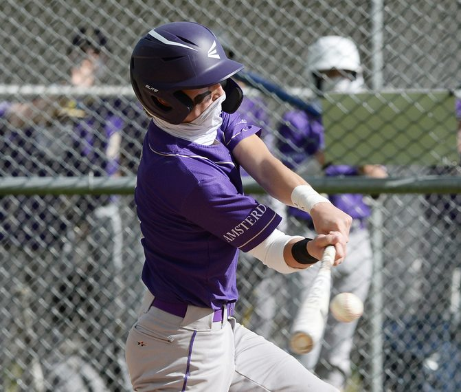 Amsterdam senior Tommy Ziskin takes a swing during Friday's Foothills Council baseball game at Schuylerville High School.