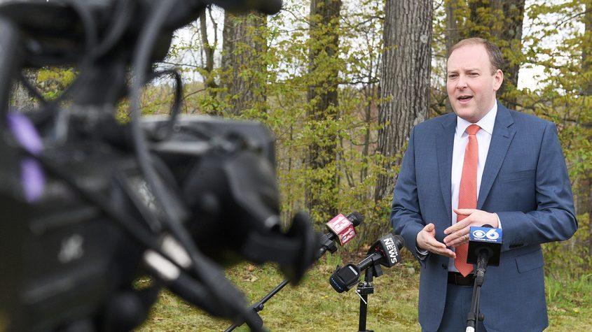 US Rep. Lee Zeldin answers questions from media as he announces his campaign for republican/conservative nomination to run for NYS Governor, outside Saratoga National Golf Club in Saratoga Springs Monday.