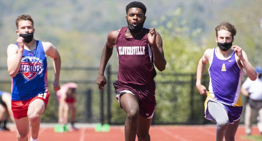 Gloversville's Mekhi Lanier, center, wins the 100-meter dash between Broadalbin-Perth's Sam Hotaling and Amsterdam's Vincenzo Billington during the Bi-County Meet on Saturday in Gloversville.