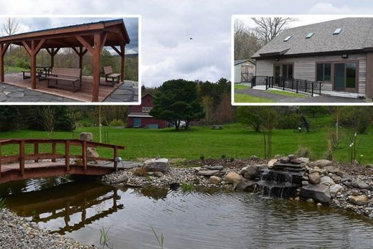 The pond and fountain featured in the meditation garden at Landis Arboretum in Esperance. Inset left: Pavilion in the meditation garden, featuring benches that can convert into picnic tables. Inset right: Emergency shelter and addition to the meeting house. (Indiana Nash)