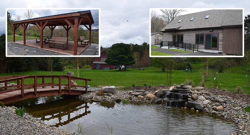 The pond and fountain featured in the meditation garden at Landis Arboretum in Esperance. Inset left:Pavilion in the meditation garden, featuring benches that can convert into picnic tables. Inset right:Emergency shelter and addition to the meeting house. (Indiana Nash)