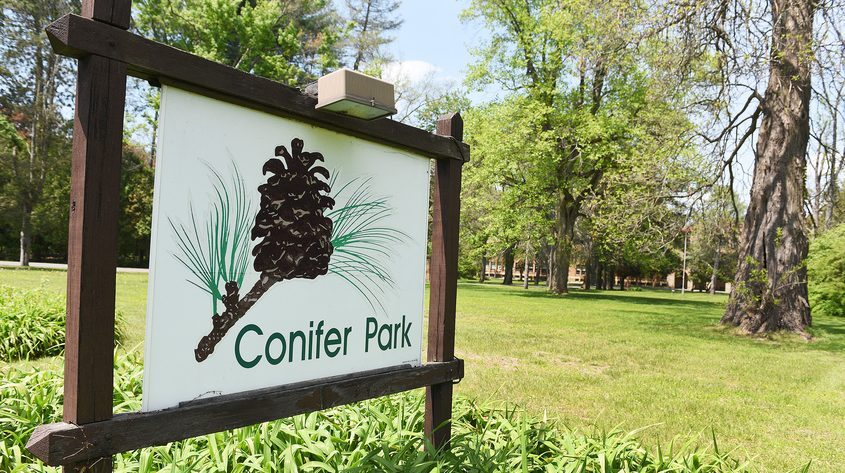 The entrance to Conifer Park in Glenville Tuesday