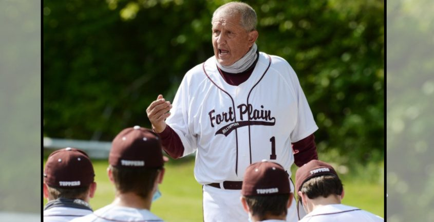 Fort Plainbaseball Craig Phillips speaks to his players before Tuesday's game against Mayfield at Mayfield Elementary School.