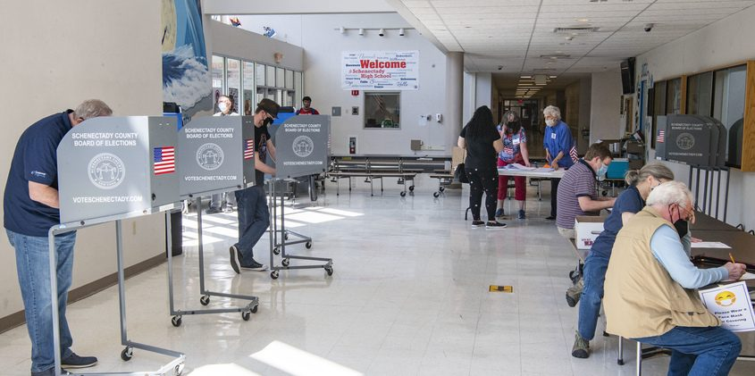 Voters at Schenectady High School Tuesday