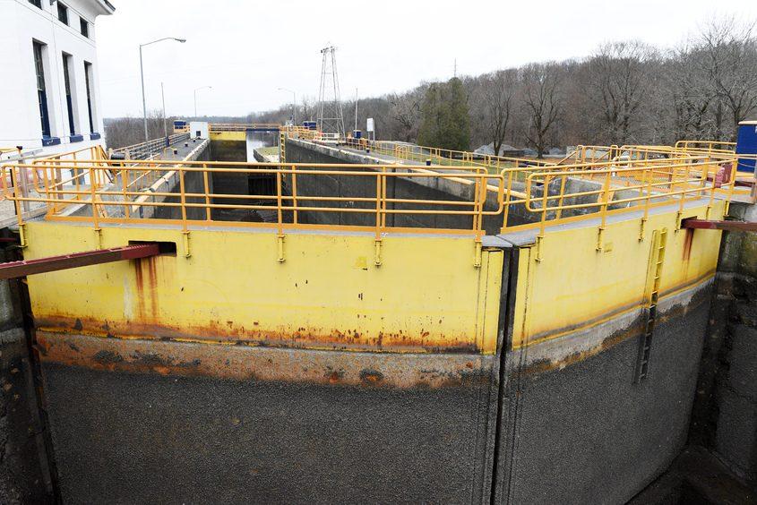 ERICA MILLER/STAFF PHOTOGRAPHER Canal Lock E-7 in Niskayuna is shown amid an off-season overhaul in December 2020.