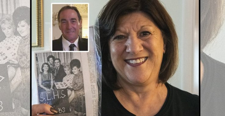 Judy Longo Young of Rotterdam holdsa photo of her late sister Donna Longo Feulner (at far right in photo) that appeared in Monday's Daily Gazette. Inset photo shows her brother David, who passed away on May 13.
