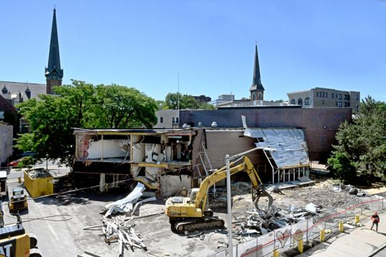 GAZETTE FILE PHOTODemolition work is underway in June 2020 of a former bank at 500 State St., Schenectady. A new mixed-used structure on the site will be partially funded with a $2.75 million state Downtown Revitalization grant announced Friday.