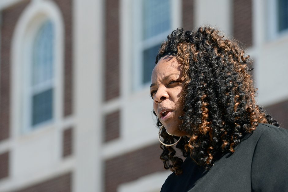 Schenectady NAACP President Rev. Nicolle D. Harris speaks in front of Schenectady City Hall onMarch 8.