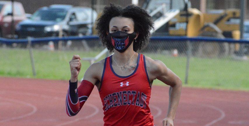 Schenectady High School sprinter Alika Jackson-Bergin runs during track and field practice last Thursday at Larry Mulvaney Field.