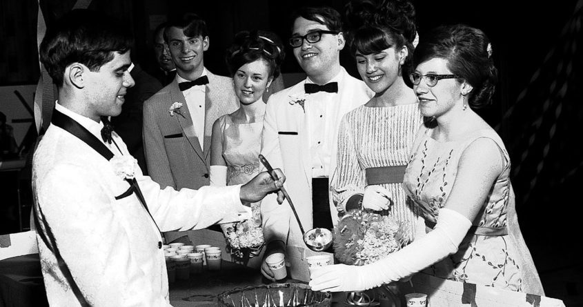 Ron DeMatteo is on ladle duty for St. Columba High School's 1966 junior-senior ball. Smiling for drinks, from left, are Mary Hartshorne, Carol Fluty, Tom Morrette, Arlene Moran and Dave Connelly.