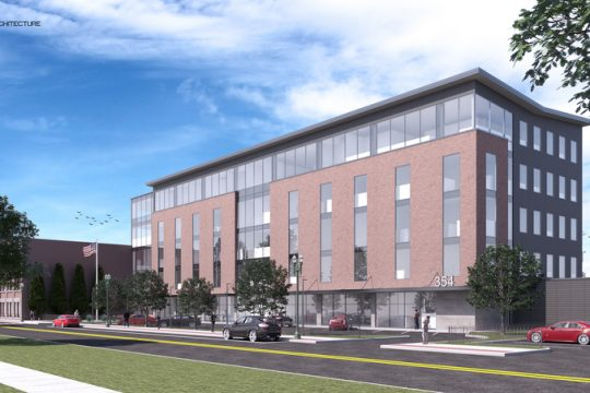 IMAGE PROVIDEDAn architectural rendering shows the 79,000-square-foot office building proposed at 356 Broadway in downtown Schenectady.