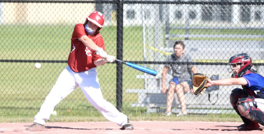 Scotia-Glenville's Luke Brandow gets set to drive a pitch for a two-run double against Broadalbin-Perth Monday afternoon.