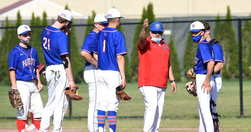 Broadalbin-Perth coach RJ Pingitore talks to his infield on the mound Monday afternoon during a game against Scotia-Glenville at Scotia-Glenville High School.