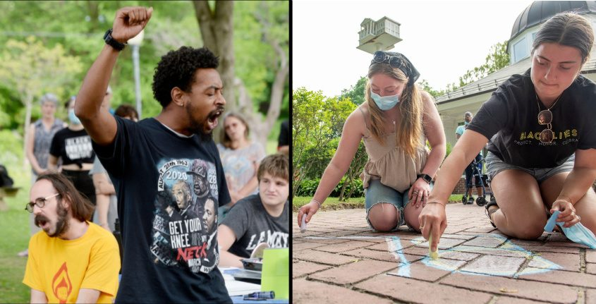 Left: Saratoga BLM activist Lexis Figuereo, of Saratoga Springs, raises his fist as they hold a community art project and speak-out; Right: Sisters Ashley McCormick, 21 (right), and Olivia, 17, both of Queensbury, make chalk art