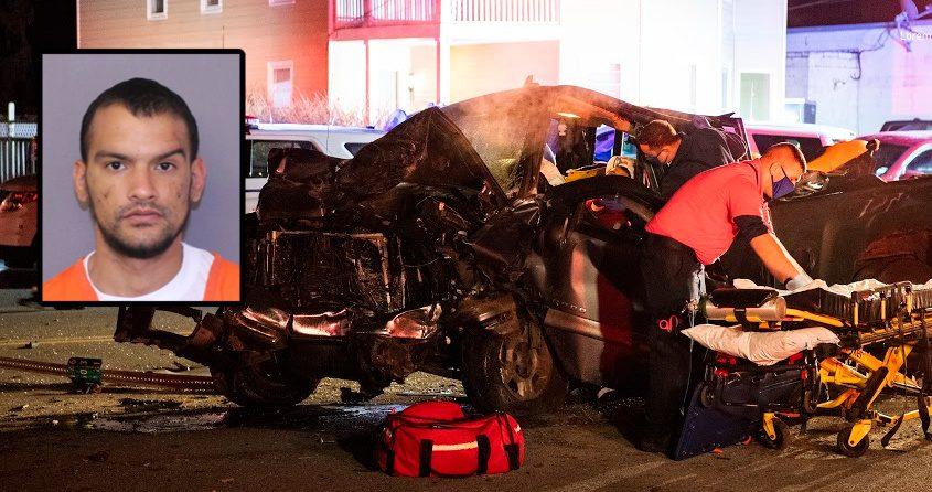 Paramedics tend to Oscar Lopez trapped in his pickup truck after strikingAmanda Slaven's vehicle on Hamburg Street early Nov. 1. Inset: Oscar Lopez