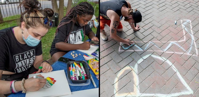 Left: Olivia Hansen, of Voorheesville (left), and Chandler Hickenbottom, of Saratoga Springs. Right: Adam Hill, of Saratoga Springs, draws with chalk