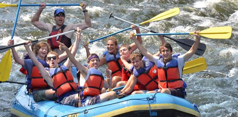 Rafters are all wet — and all smiles — during a whitewater trip on the Sacandaga River with Wild Waters Outdoor Center in Lake Luzerne. Summer months mean raft guides near the Sacandaga will meet bunches of adventure seekers.